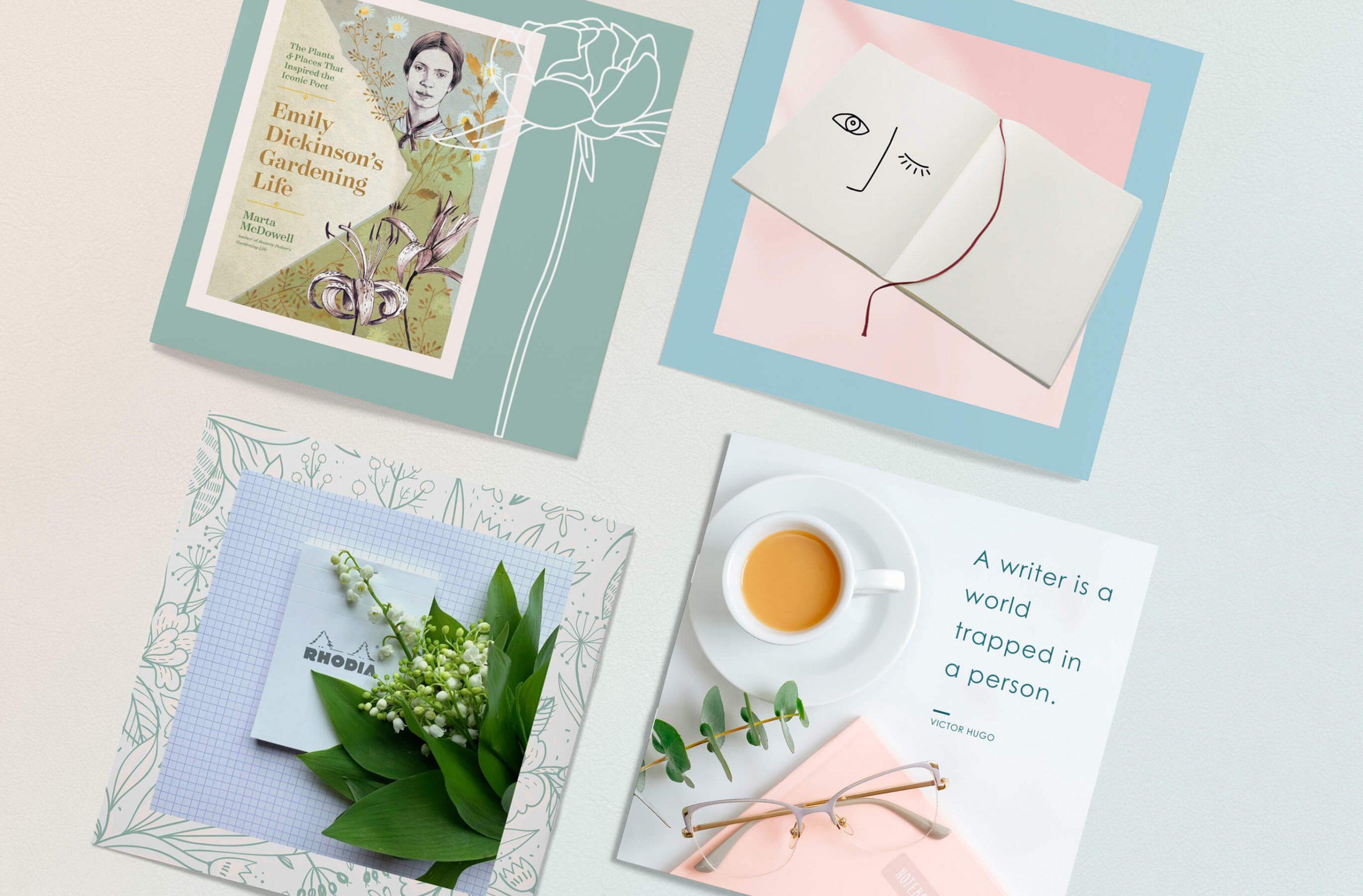 social media images designed for a stationery shop