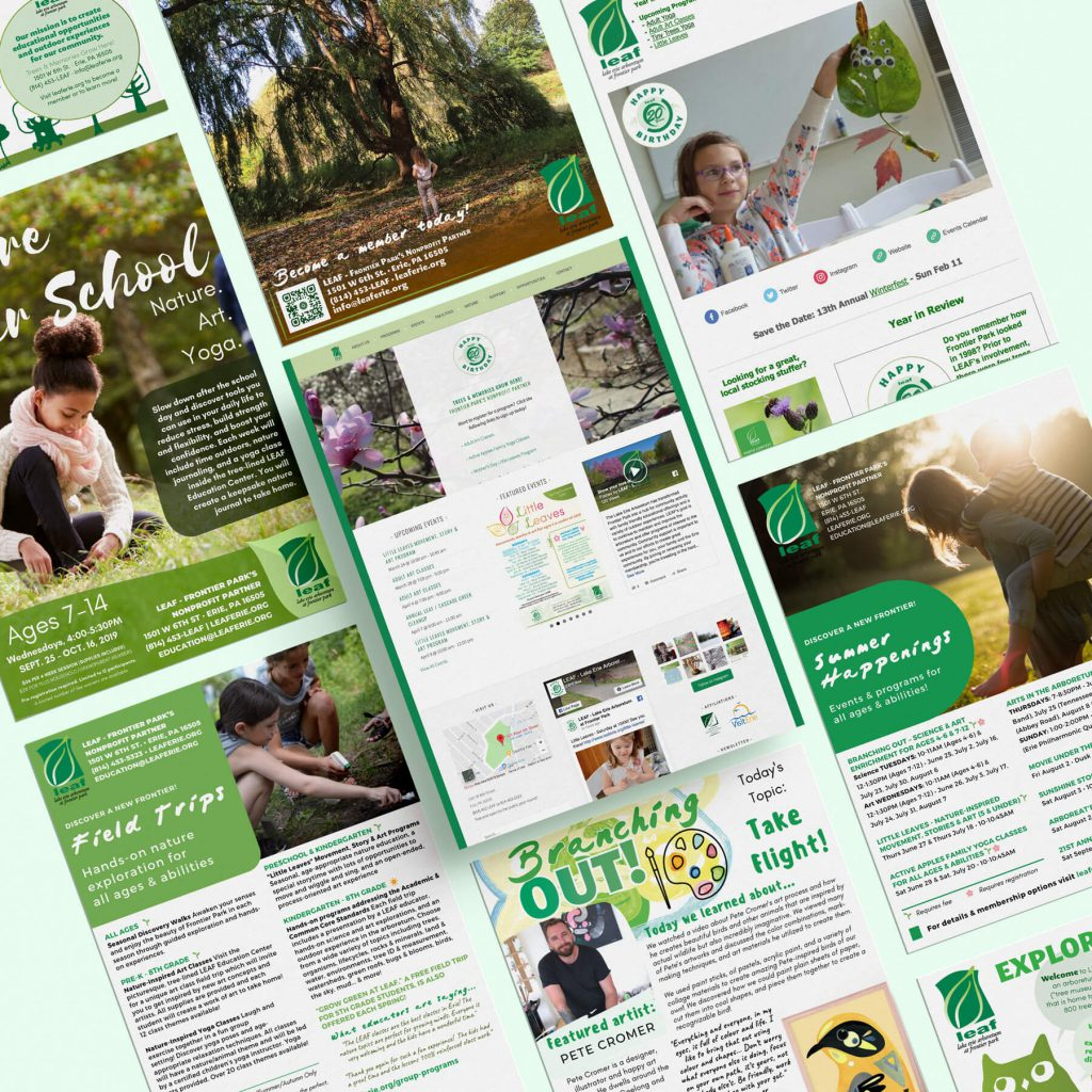 images of marketing materials and a website designed for a nature center