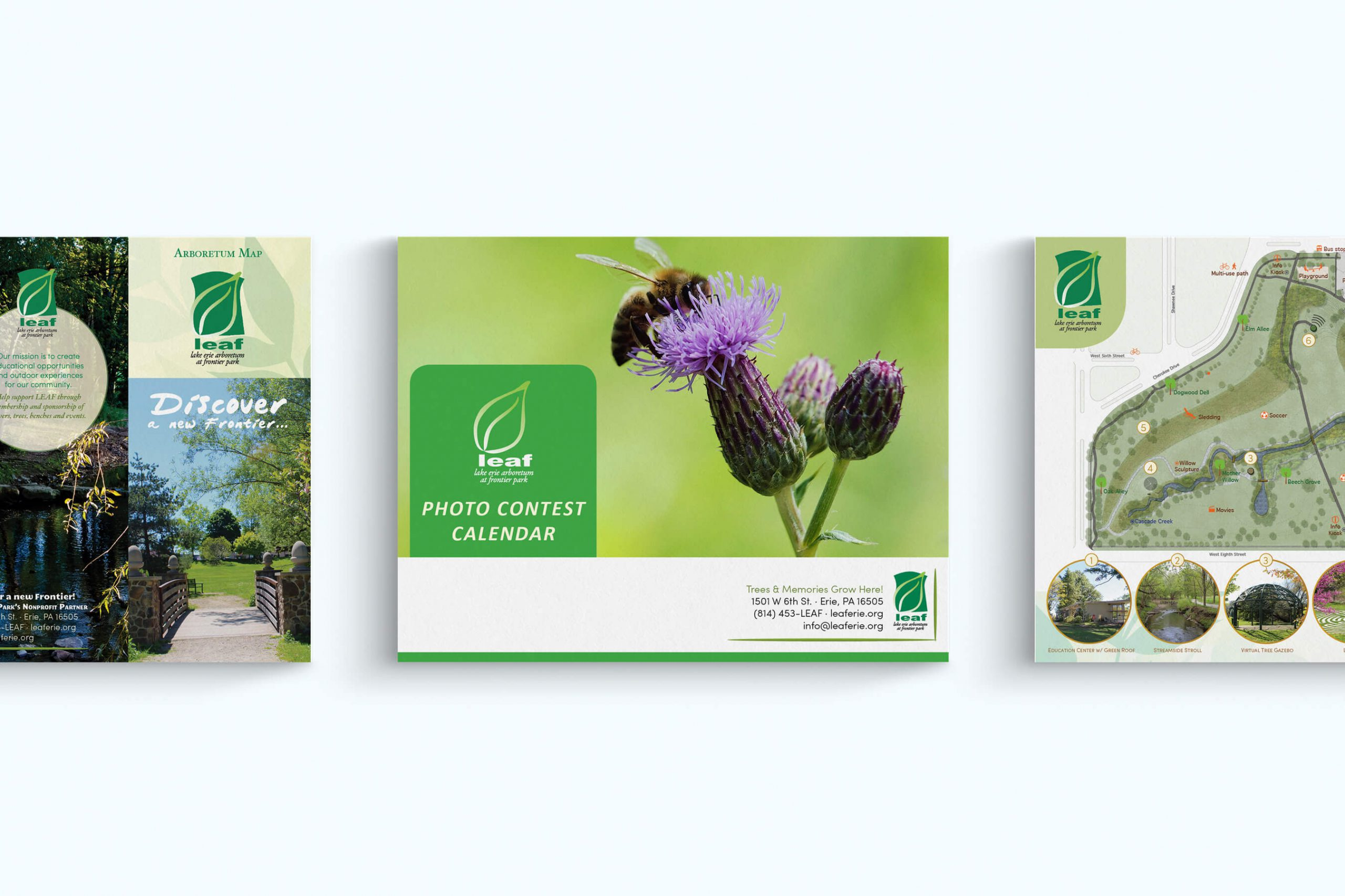 images of a calendar and brochure designed for a nature center