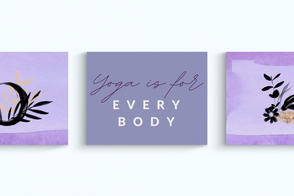 Images of graphics designed for a yoga studio