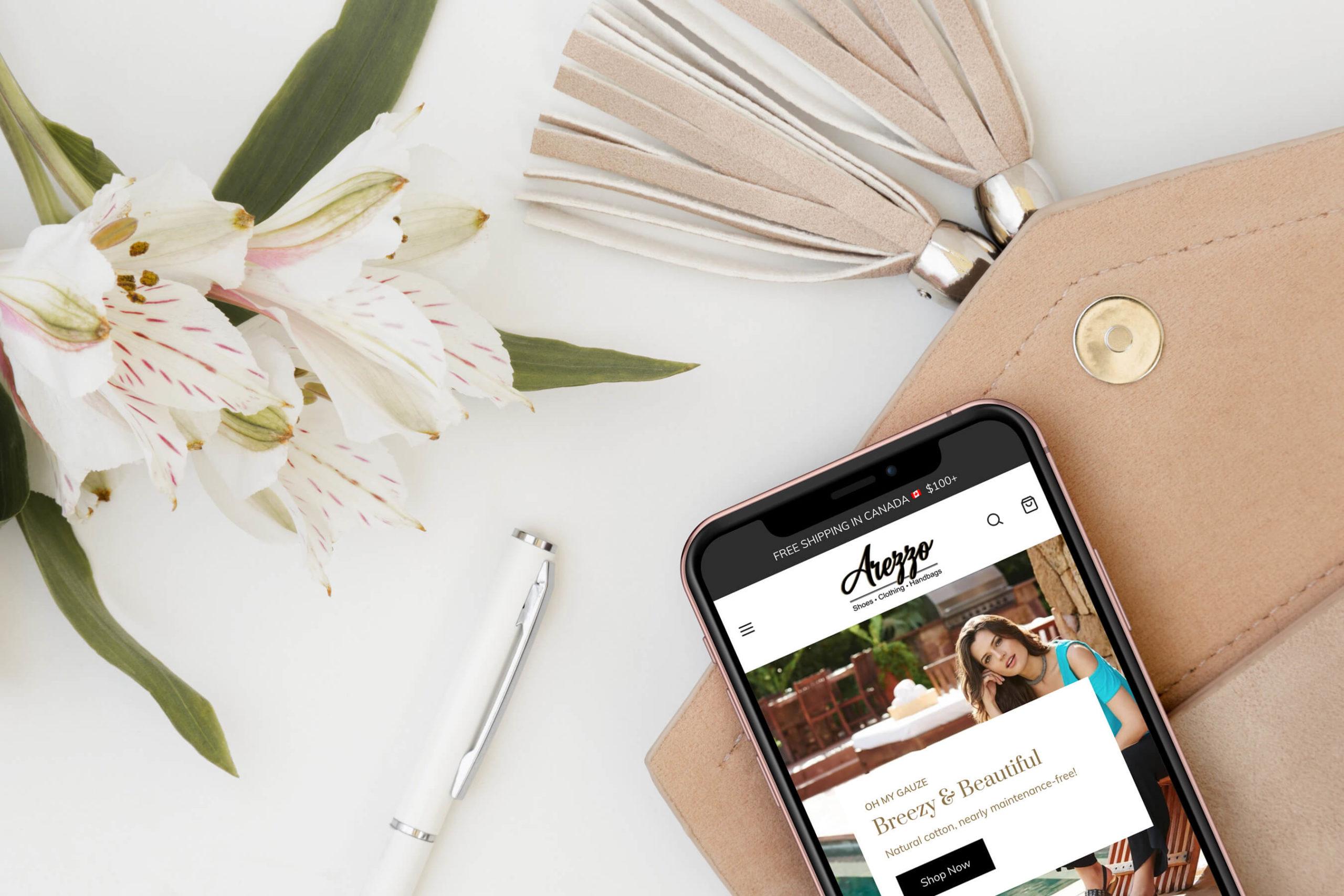 Arezzo responsive Shopify website design screenshot