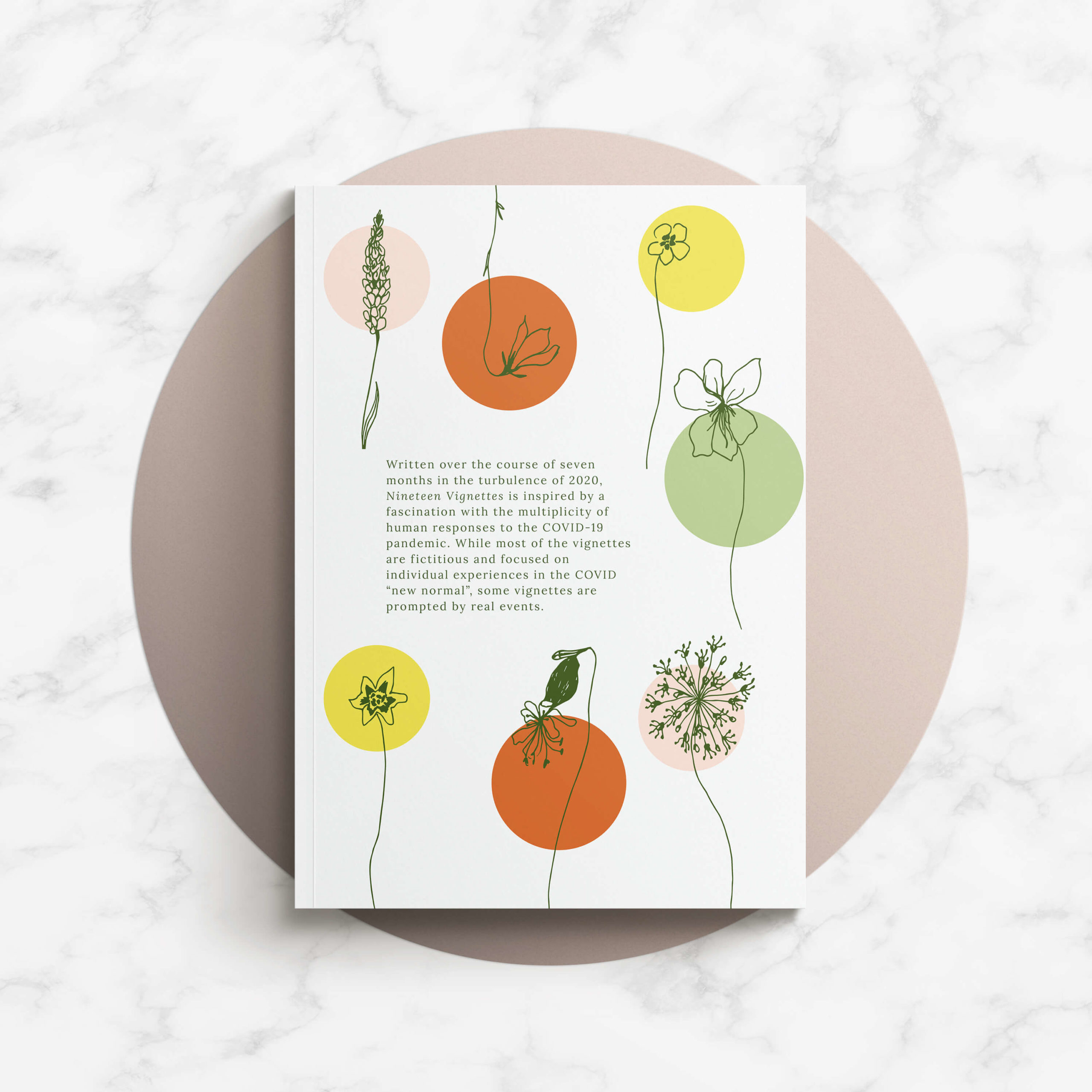 Book back cover design featuring Manitoba wildflowers