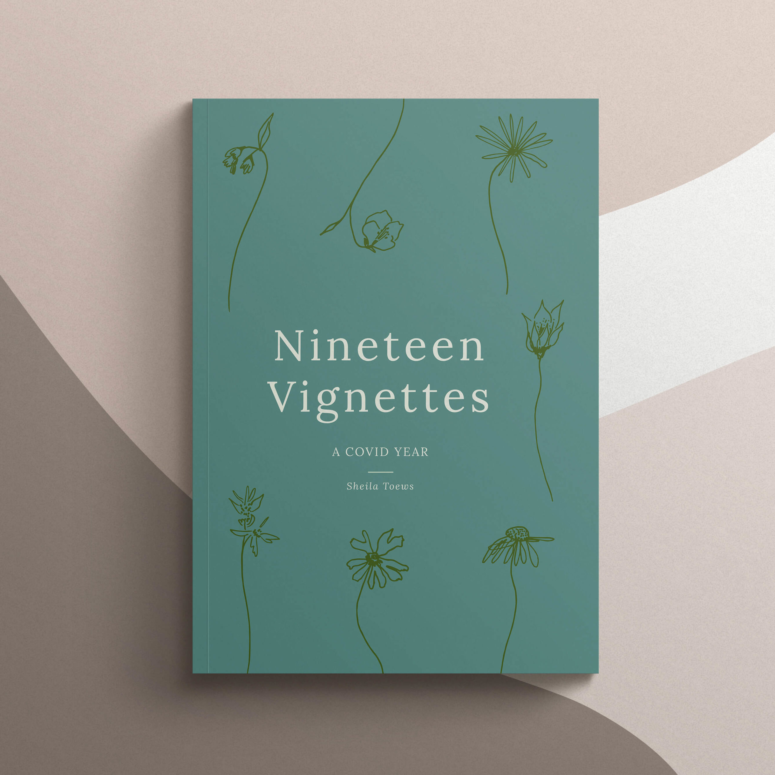 Book design cover options for a short story collection featuring Manitoba wildflowers