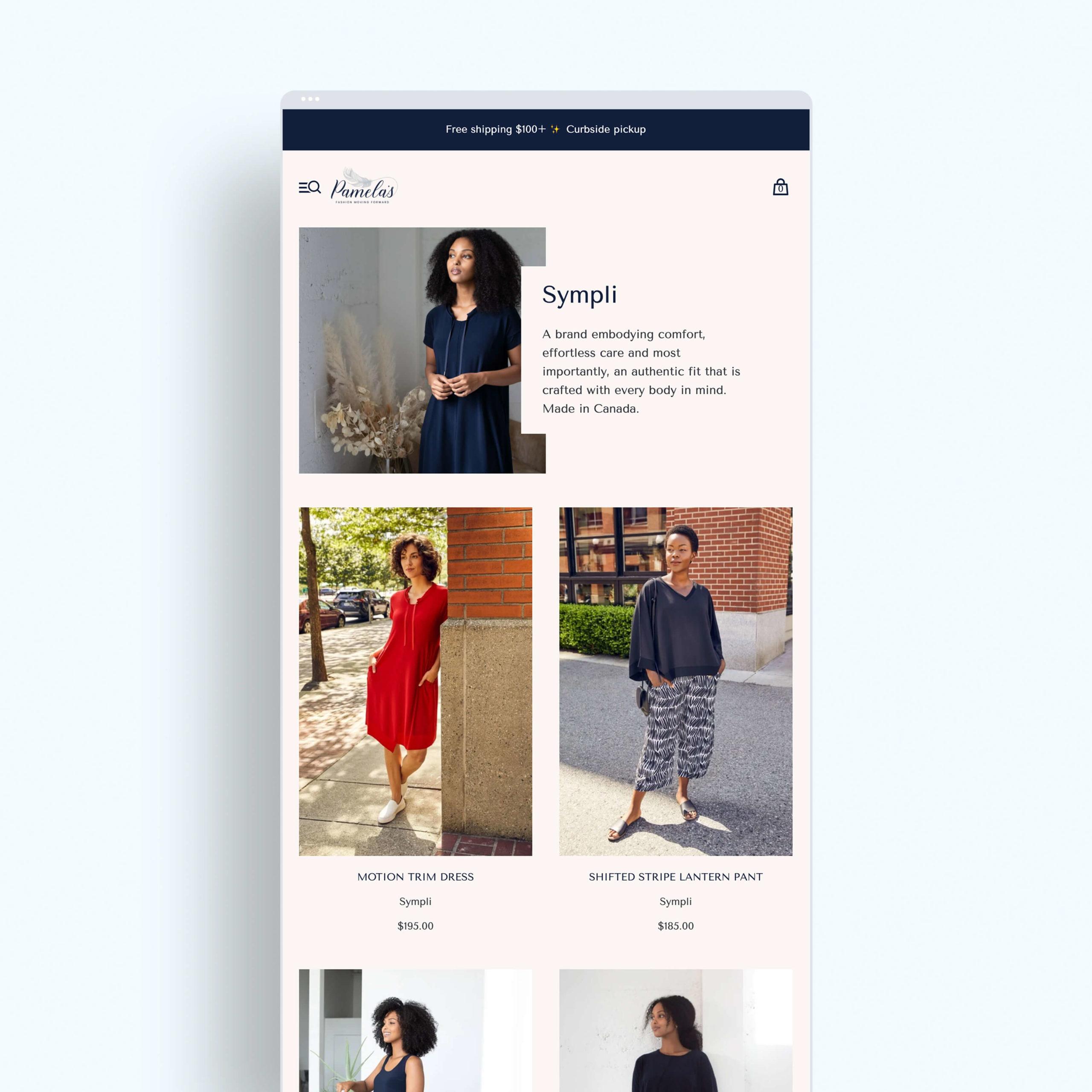 Pamela's Shopify website design