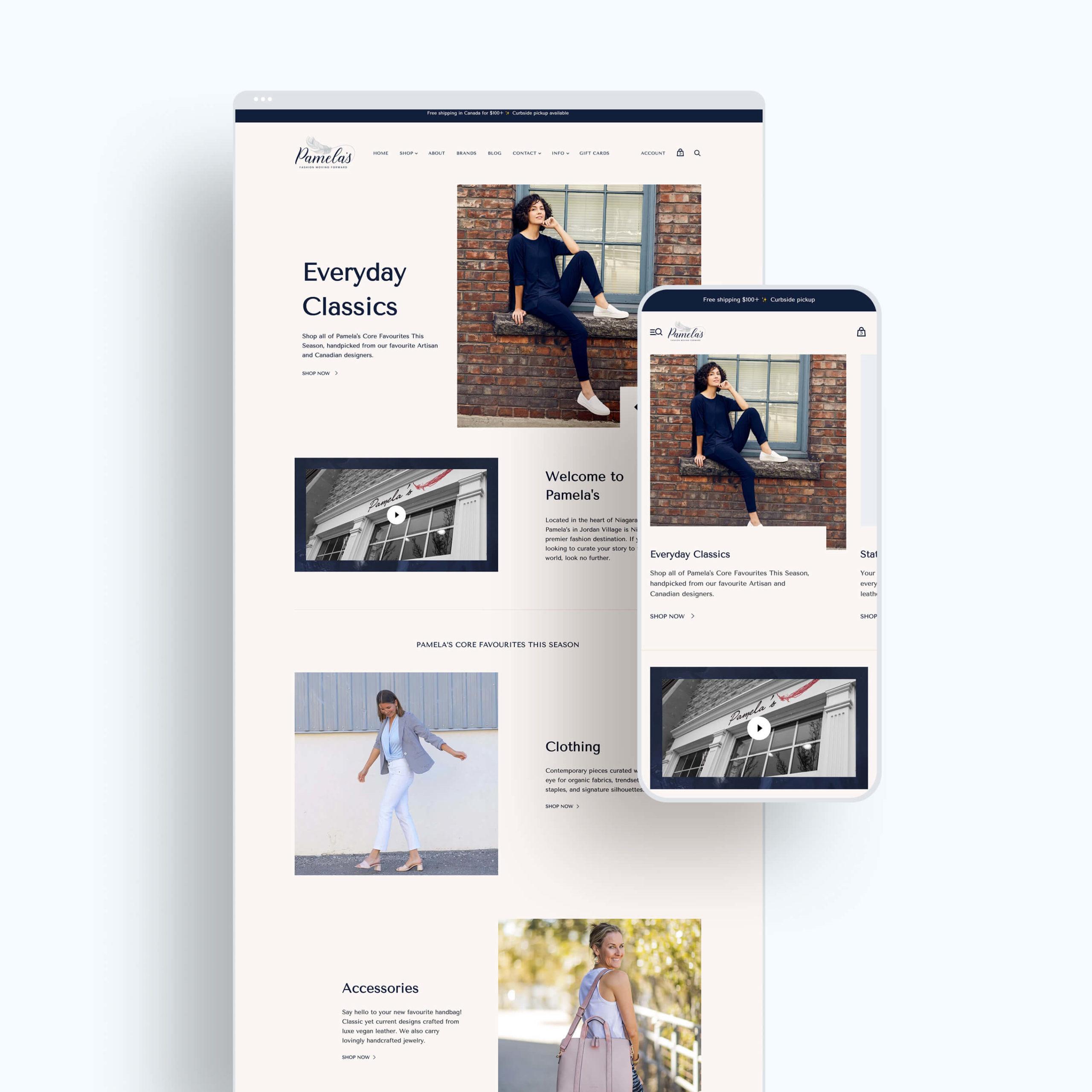 Pamela's responsive Shopify website design