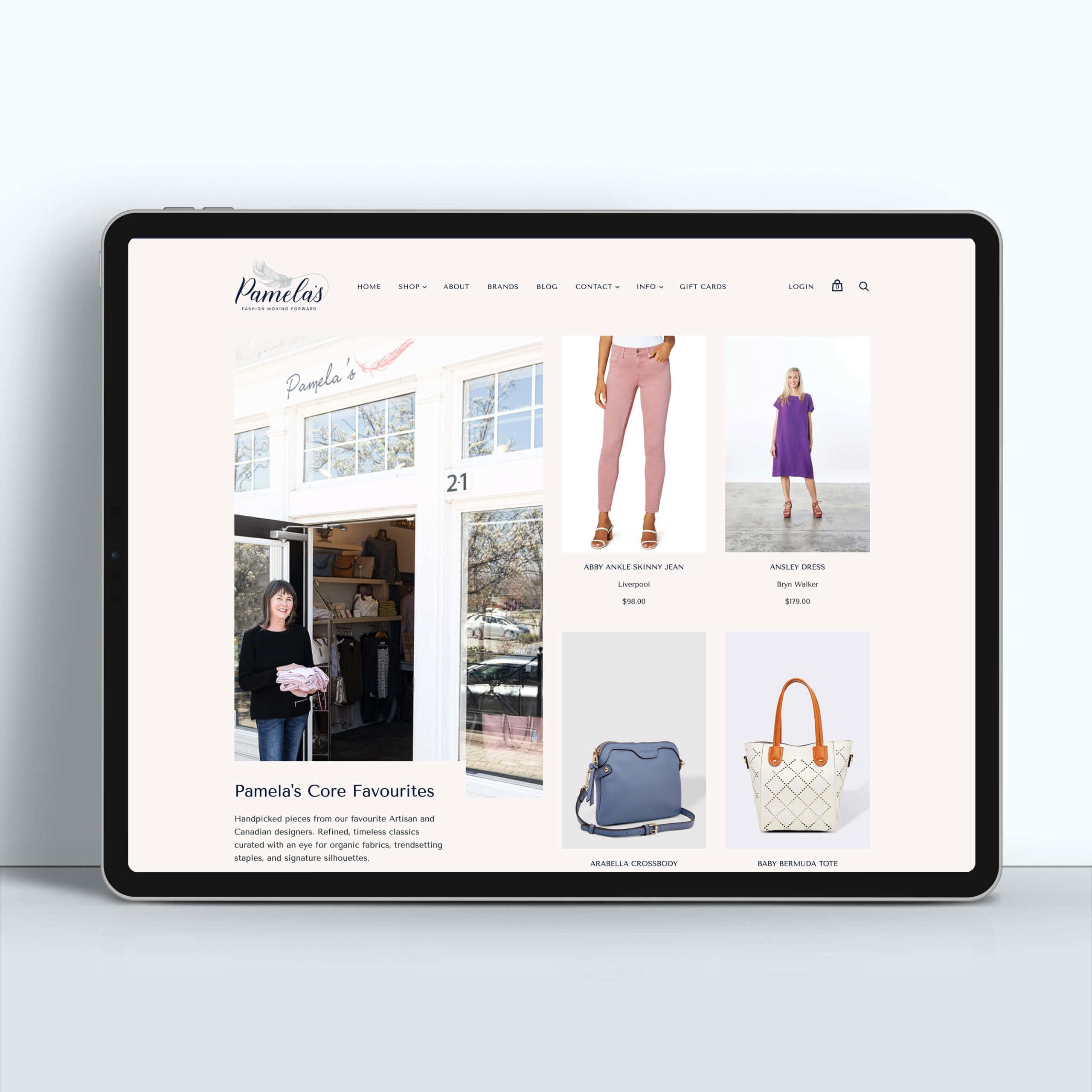 Pamela's Core Favourites Shopify Website Design