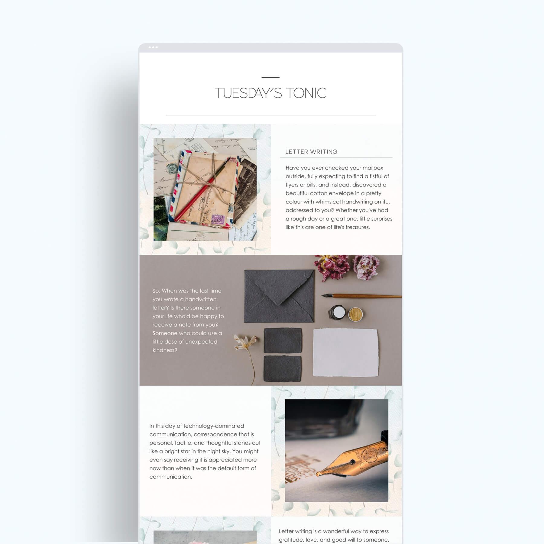 Tuesday's Tonic Newsletter Design